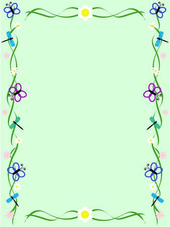 Fond vert avec ornement faite de fleurs, de papillons et libellules Banque d'images - 6447196