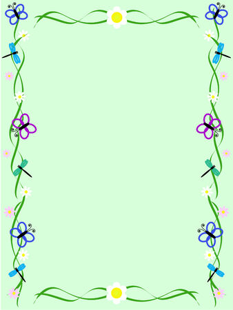 Green background with ornament made of flowers, butterflies and dragonflies Illustration