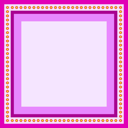 simple geometry: purple frame for greeting card with flowers