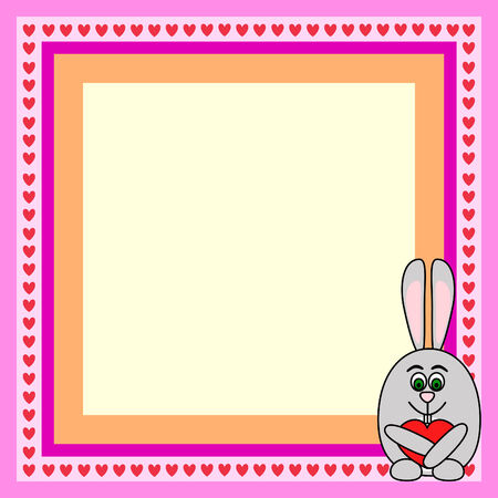 greeting card frame with rabbit with heart