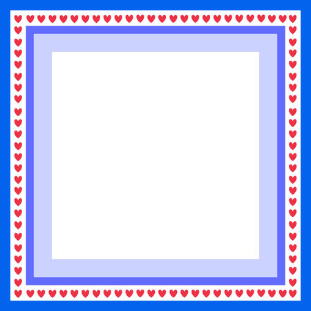 blue frame for greeting card with hearts