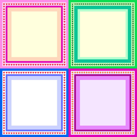 set of 4 different colors greeting cards