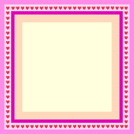 pink frame for greeting card with hearts  Ilustrace