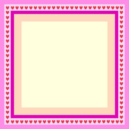roze frame voor wens kaart met hart  Stock Illustratie