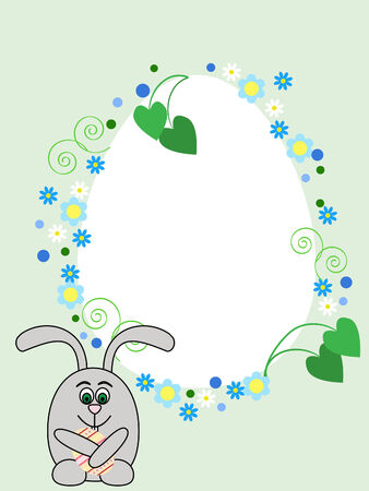 Egg shaped greeting card with Easter rabbit Vector