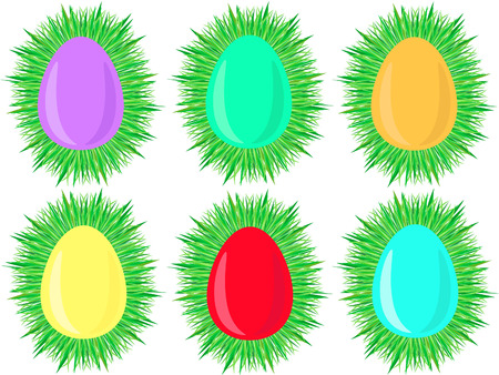 lying in: six colored Easter eggs lying in nest of grass