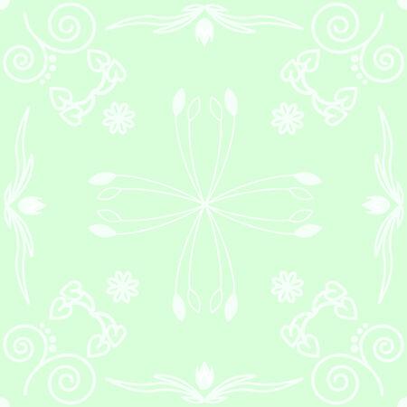 light green background made of flower ornament Vector