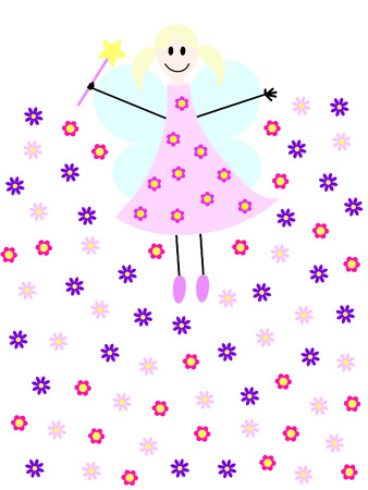 a flying fairy with magic wand and flowers Illustration