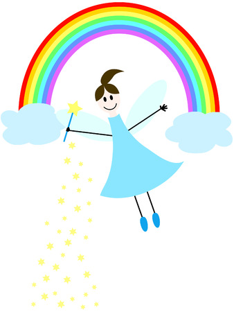 magic young: a flying fairy with magic wand and rainbow Illustration