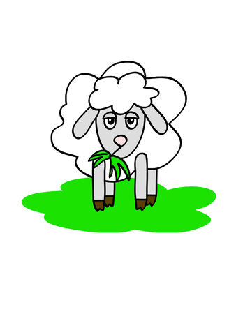 bleating: a funny sheep chewing grass with boring muzzle Illustration