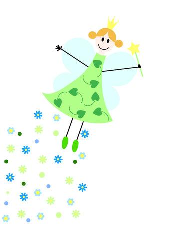 fee zauberstab: eine fliegende Fee mit Zauberstab und Blumen