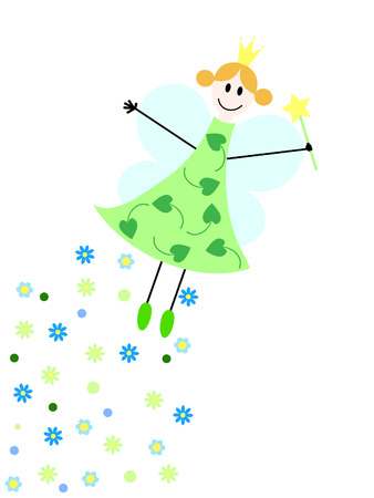 hadas caricatura: un hada vuelo con la varita m�gica y flores