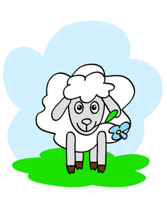 bleating: a funny sheep chewing flower with happy muzzle