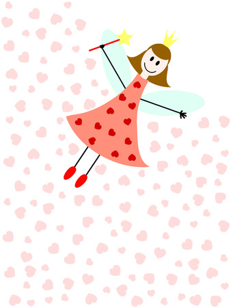 a flying fairy with magic wand and pink hearts Illustration