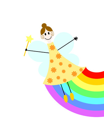 a flying fairy with magic wand and rainbow Illustration