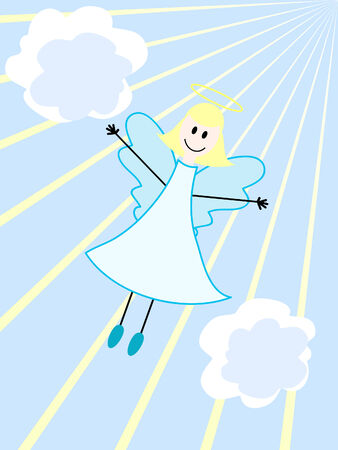 an angel flying in the sky with clouds and rays Vector