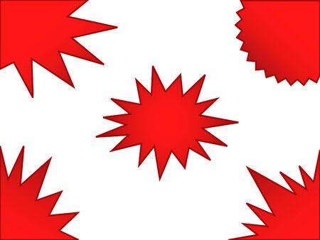 puntig: een reeks van rood, brei verkoop stickers  Stock Illustratie
