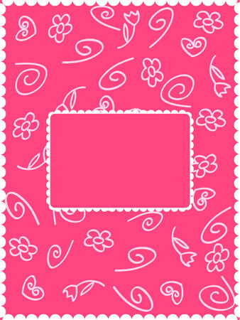 a greeting card with pink girly design