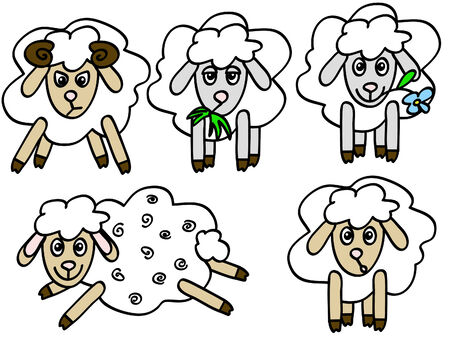 bleating: a set of five cute sheep with different emotions