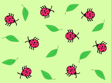 ladybugs and leaves on the green background Vector