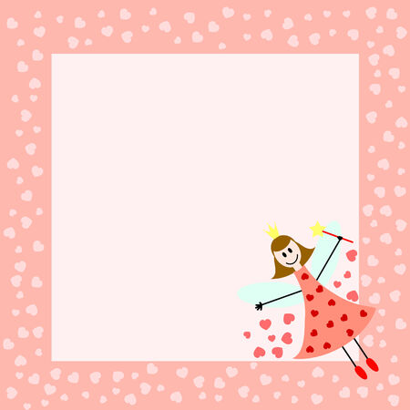 pink card with fairy girl and hearts Vectores