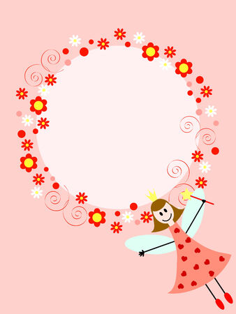 pink card with fairy girl and floral ornament around the circle