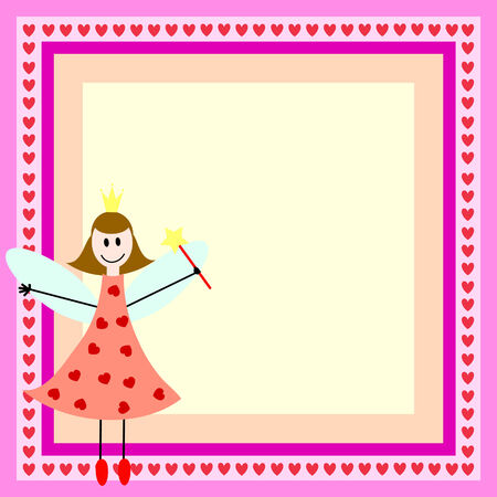 pink card with fairy girl in the bright frame Vettoriali