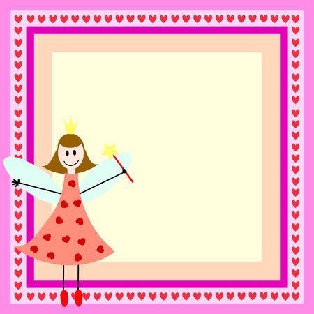 Tarjeta rosa con hadas chica en el fotograma brillante  Foto de archivo - 7461560