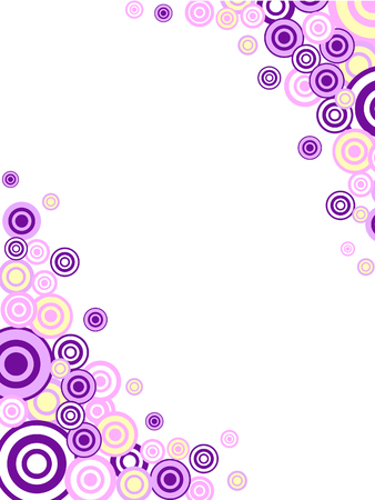 a card with pink and purple circle grunge ornament