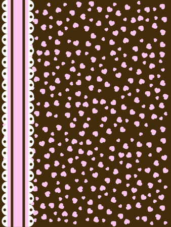 background with pink and brown hearts and lace stripe Vettoriali