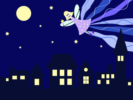 a fairy flying trough the night above the city