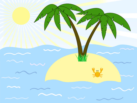 tropic island with palms among the sea