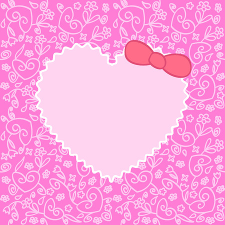 greeting card with heart over floral ornament