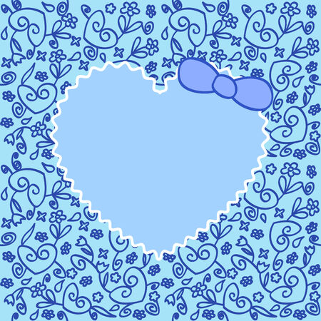 blue greeting card with heart over floral ornament Vector