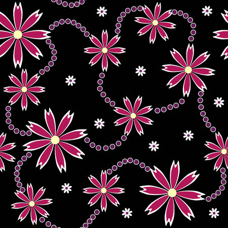 ornament made of purple flowers on black Vector