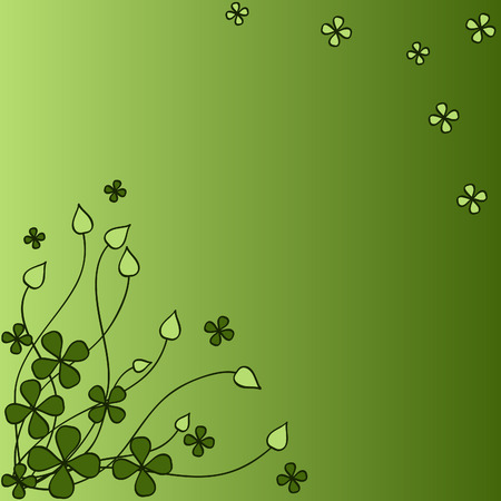 trefoil: green pattern with four-sheeted trefoil and abstract sprouts Illustration