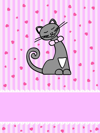 pink greeting card with happy grey cat