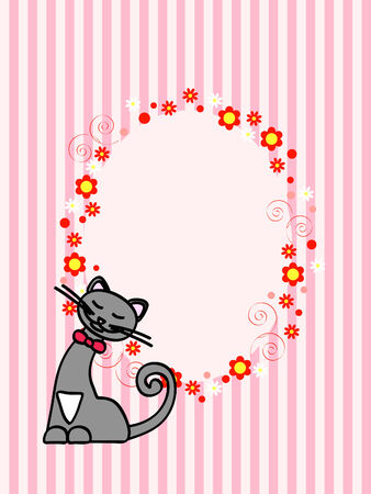 pink greeting card with happy cat and floral ornament