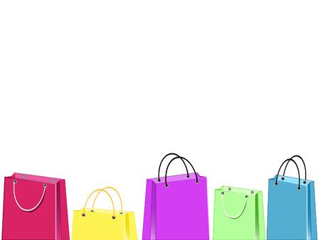 장의 아래 부분에 5 개의 다채로운 쇼핑백의 그룹