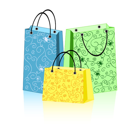 a group of 3 colorful shopping bags with ornament Vector