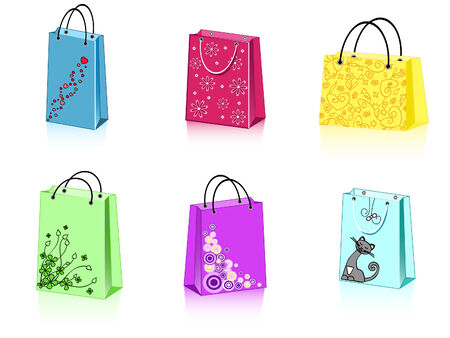 a group of 6 colorful shopping bags with different ornament Vector