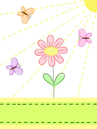 a flower and butterflies under the sunshine Stock Vector - 7700709