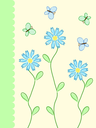 blue and green pattern with flowers and butterflies