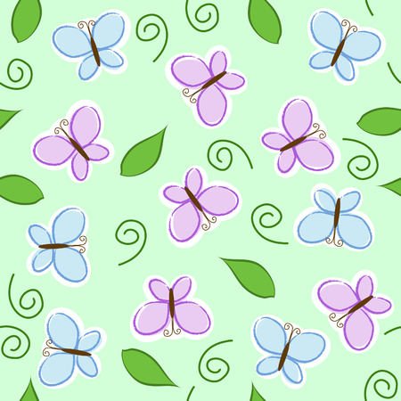 seamless pattern with blue and purple butterflies