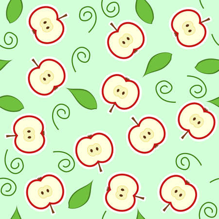 seamless pattern with red apple halves and leaves Vector