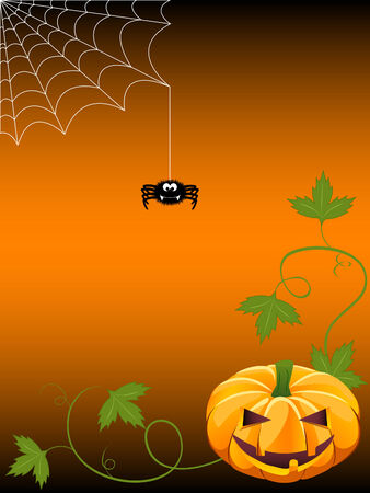 Halloween background with jack-o-lantern and spider Vector