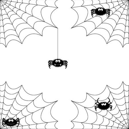 cute spider with net in 4 different varieties Vector