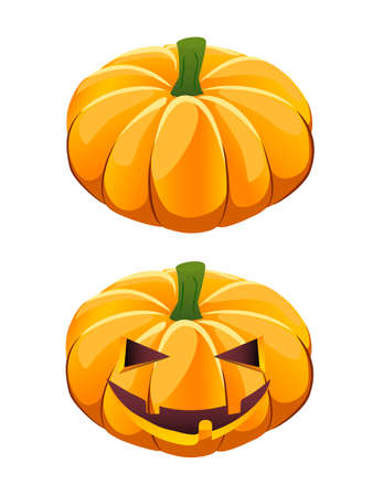ripe   pumpkin plus Halloween jack-o-lantern variant Illustration