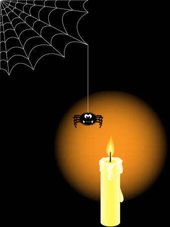 Halloween background with burning candle and spider Vector