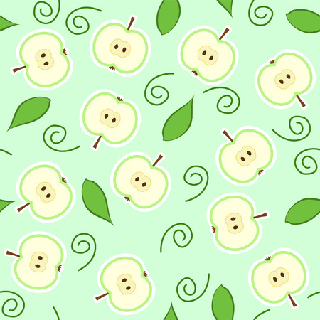 seamless pattern with green apple halves and leaves Illustration
